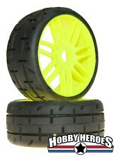 1:8 GRP GTY01-S3 SOFT  (2) Rubber GT Treaded Tires  Yellow Spoke Rims FREE SHIP