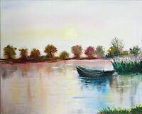 Boat Painting Original Art Fall Landscape Artwork Boat 16 by 20in by Chernetsova