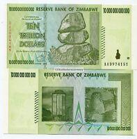 Zimbabwe 10 Trillion Dollars AA 2008 Circulated Note Part of 100 Trillion Series