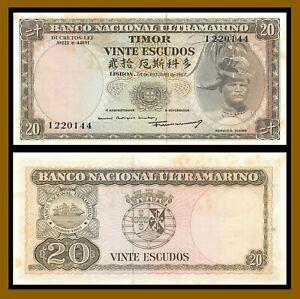 Timor (East Timor) Timor-Leste 20 Escudos, 1967 P-26 Foxing Banknote Unc