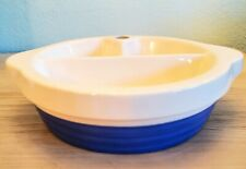 Vintage Blue & White Ceramic Baby Warming Dish GUC 1950s Excello