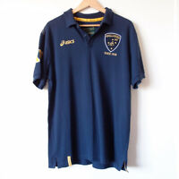 ASICS Australian Wallabies Rugby Union Navy Polo Shirt Jersey Top Size XL Badge