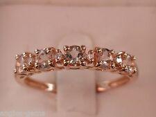 NEW Pink Morganite & Diamond Stackable Ring Band - 10K Rose Gold- Sz 7