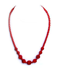 "18"" genuine coral necklace with sterling silver clasp - NKL360001"