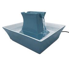 Blue Ceramic Pagoda Pet Drinking Fountain 70oz Med Dog Cat Water Bowl 12V Pump