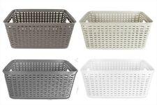 Rattan Style Rectangle Plastic Kitchen Home Garden Storage Fruit Basket Medium White Set of 3