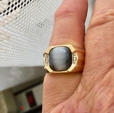 10 k gold mens ring + moonstone size 7 1/4 5.8 grams