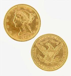 $5 Half Eagle Liberty Head AU Raw Gold (Random Year)