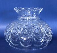 "Vintage 7"" Crimped Drape Style B&H Rayo Aladdin Oil Hurricane Glass Lamp Shade"
