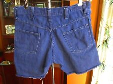 "28W 28"" True Vtg 70s Pure Indigo Denim Cutoff Denim Jeans Hippy Shorts"