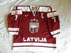 Nike Latvia Latvian Authentic Hockey Jersey Karlis Skrastins Vintage 90s sz 56