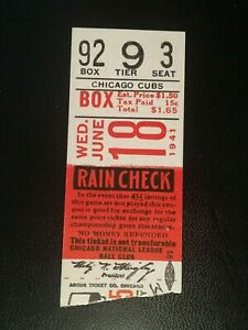 1941 Brooklyn Dodgers at Chicago Cubs Ticket PEE WEE HACK DOLPH DUCKY MEDWICK HR