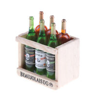 6 Wine Juice Bottles With Wooden Miniature Kitchen Drink Toy Dollhouse Gift ^