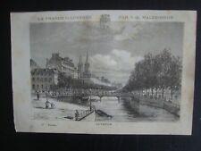 GRAVURE XIXe  QUIMPER  DEPARTEMENT DU FINISTERE  PAR V.A. MALTE-BRUN 1884
