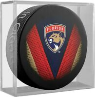 Florida Panthers NHL Stitch Team Logo Souvenir Hockey Puck in Display Cube