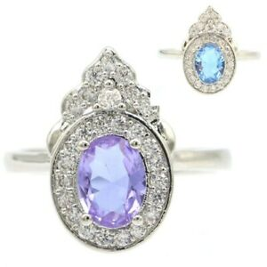 Charming Changing Color Alexandrite & Topaz CZ Woman's Silver Ring 9.0