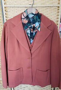 Vintage Orange Polyester Knit Men's Leisure Suit Jacket Vest Pants, 1970's