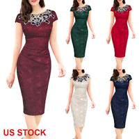 Women Lady Elegant Embroidery Business Work Office Formal Party Long Slim Dress
