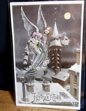 Early French Tinted Postcard - Angel with toys
