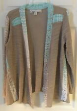 CURIO ANTHROPOLOGIE brown blue white open front cardigan sweater sz small ribbon