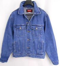 WRANGLER HERO Jean Jacket Men's Size LARGE Blue Denim TRUCKER 100% Cotton EUC