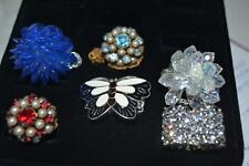 Gold Tone Ring Butterfly Clear Pearl Rhinestone Lot of 6 Adjustable