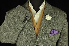 "Vtg Harris Tweed Herringbone Country Tailored Hacking Jacket 44"" Short #313"