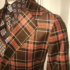 New Vtg 60s 70s Brown Plaid Corduroy Blazer Disco Coat Suit Jacket Mens 40 Nos