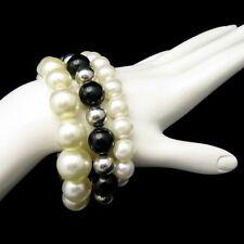 Vintage Faux Pearls 3 Bracelets Jewelry Lot Chunky Beads Black Silver