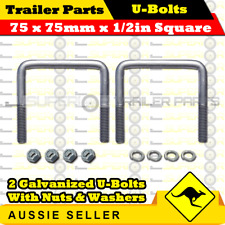 2 x U-Bolts 75mm x 75mm Square with Nylock Nuts Galvanized