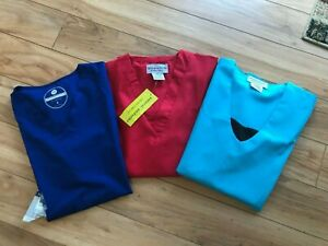 3-NEW Uniform Scrub Tops Size Small Red/Blue/Blue Women