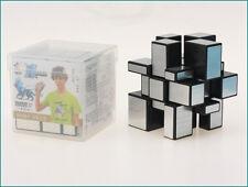 Brushed Metallic Silver Black YuXin Speed 3x3x3 Mirror Block Cube  + Protect Box