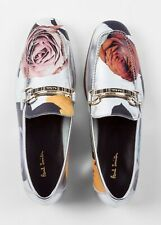 PAUL SMITH LEATHER SILVER LOAFERS NEW UK 8 41 ITALY GROVER FLOWER PRINT ROSE
