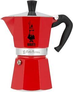Bialetti 6 Cup Moka Express Stovetop Espresso Coffee Maker Pot Red NEW