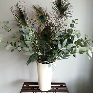Cream Metal Flower Bucket 25cm tall