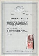 DDR Michel No. 341 va XI gestempelt / Attest BPP Mayer