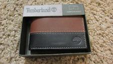 TIMBERLAND Men Genuine LeatherBifoldWALLET NIB TwoTone Brown Black free shipping