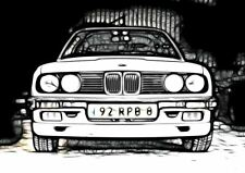 BMW E30 320I A3 de fractal Luz arte Art Print cartel YF5081