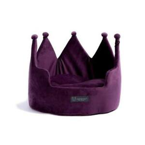 BRAND NEW! NANDOG PET GEAR PURPLE VELVET PLUSH CROWN BED FOR DOGS OR CATS