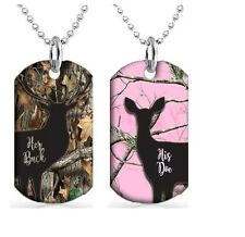 Buck and Doe Couples Dog Tag Necklace Set x2 Dog Tag with 30 inch Ball Chain