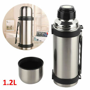 Stainless Steel Vacuum Thermos Travel Flask 1.2 L Insulated Hot Cold Drinks New