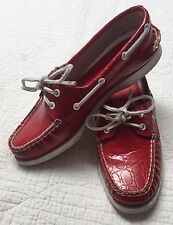 Sperry Top-Siders Croc -Red- 2-Eye Lace-Up Boat Shoes size 7 Med Preowned Womens