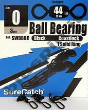 SURE CATCH Moschettoni  Black Ball Bearing Coast Lock Swivel Solid Ring - Size 0