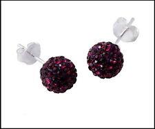 New Czech Crystal Ball Earrings with 925 Silver Studs in Purple