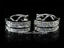 Silver Cz Huggie Earring .925 Jewelry Glowing Clear Two Lined 925 Sterling