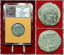 Ancient Coin ROMAN SPAIN CARMO Head Of Male On Reverse Grain Ears On Reverse