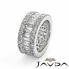 Womens Wedding Ring Baguette Classic Round Diamond Eternity Band Platinum 5.7Ct