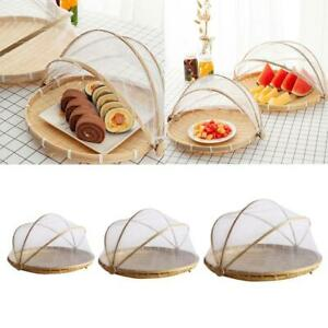 Prevent Handmade Bamboo Woven Wicker Basket Food Dish Net with Gauze Cover HOT