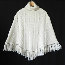Acrobat Sweater Poncho Ivory Alpaca blend Turtle Neck Pull Over Fits S/M