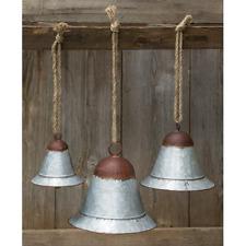 """Galvanized Metal Raya Bells 3 pc Set 3 sizes Large 7"""" h x 6¾"""" Jute Rope Hanger"""